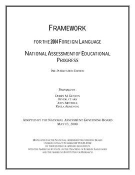Cover of Foreign Language Framework for the 2004 National Assessment of Educational Progress