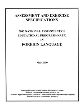 Cover of Foreign Language Specifications for the 2003 National Assessment of Educational Progress