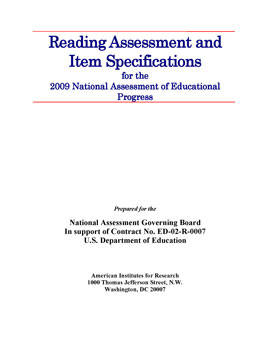 Cover of Reading Assessment and Item Specifications