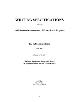 Cover of Writing Specifications for the 2011 National Assessment of Educational Progress (Pre-Publication Edition)