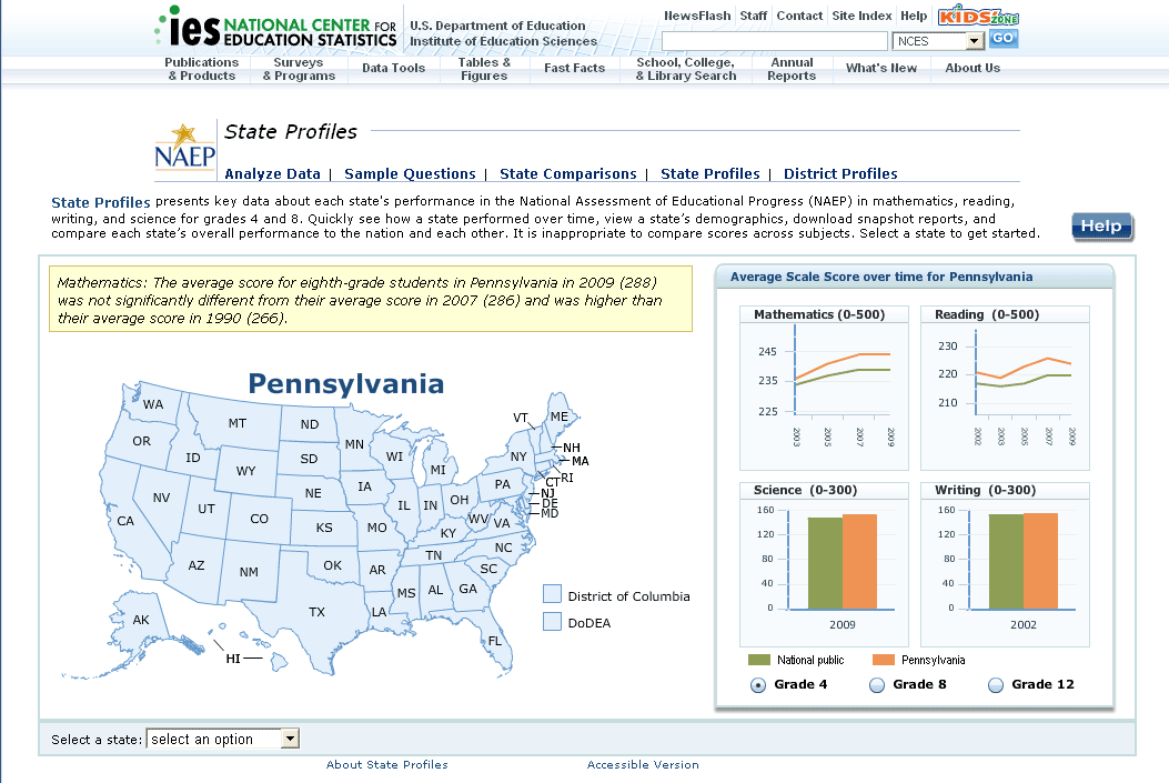 NAEP state comparison tools screenshot