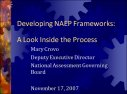 Cover for Developing NAEP Frameworks: A Look Inside the Process