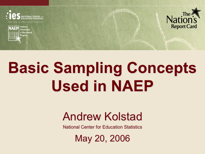 Basic Sampling Concepts Used in NAEP