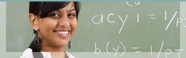 Image of woman at blackboard